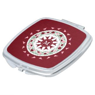 Mosaic mandala burgandy pink green monogram mirror for makeup