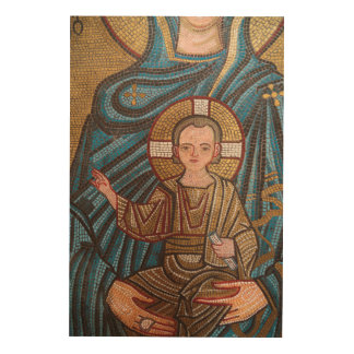 Mosaic Of Baby Jesus Wood Wall Art