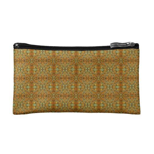 Mosaic of Dark Ochre colour  of the Alhambra. Makeup Bag