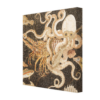 Mosaic of Octopus Strugging with Crayfish Canvas