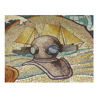 Mosaic of old divers helmet postcard