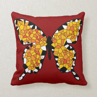 Mosaic Orange, White and Black Butterfly Throw Pillow