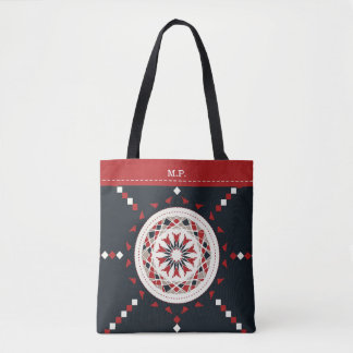 Mosaic patchwork black red and white mandala tote bag