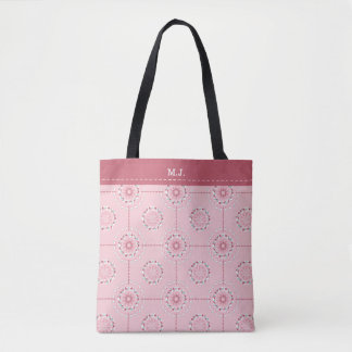 Mosaic patchwork pink and green abstract tile tote bag