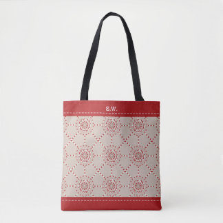 Mosaic patchwork red and beige geometric tote bag