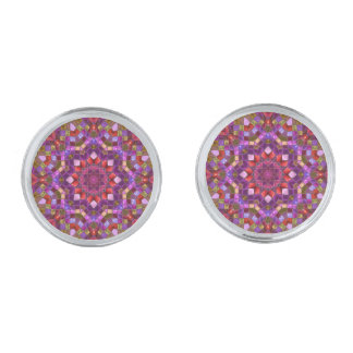 Mosaic Pattern Cufflinks, 4 shapes Silver Finish Cufflinks