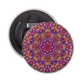 Mosaic Pattern  Magnetic Round Bottle Opener