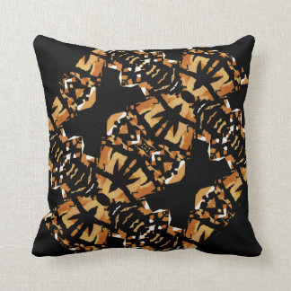 Mosaic Pattern on Black/White/Burnt Orange/Tan Cushion