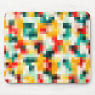 Mosaic Pattern - Red Green Yellow White Mouse Pad