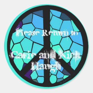 Mosaic Peace Symbol Bookplate Round Sticker