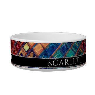 Mosaic Pet | Rainbow Tile ROYGBIV Colorful Bright Bowl