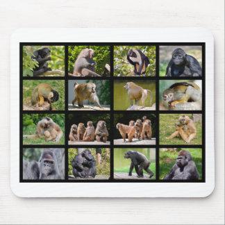 Mosaic photos of monkeys mouse pad