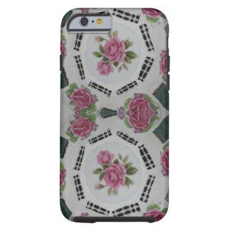 Mosaic pink rose black gingham phone case