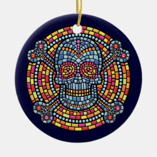 Mosaic Pirate Round Ceramic Decoration