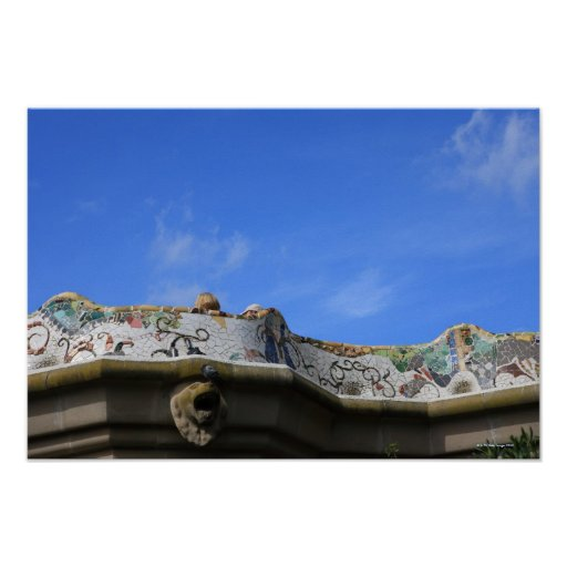Mosaic railings in Gaudi's Park Guell Posters