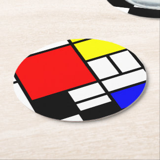 MOSAIC rectangles squares colored I + your ideas Round Paper Coaster