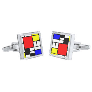 MOSAIC rectangles squares colored I + your ideas Silver Finish Cuff Links