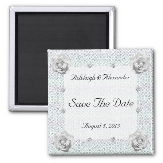 Mosaic Rose Save the Date Refrigerator Magnet