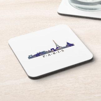 Mosaic Silhouette of Paris Skyline Drink Coasters
