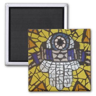 Mosaic Silver Hamsa Star Tallit and Evil Eye Square Magnet