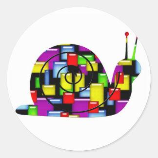 mosaic snail classic round sticker