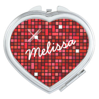 Mosaic Sparkle Squares Red SSTX Compact Mirrors