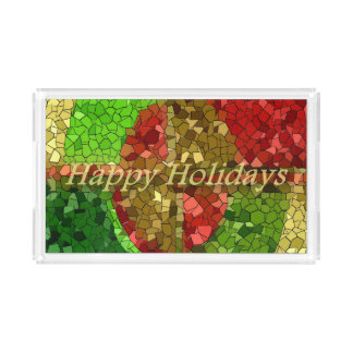 Mosaic Stained Glass Look Happy Holidays