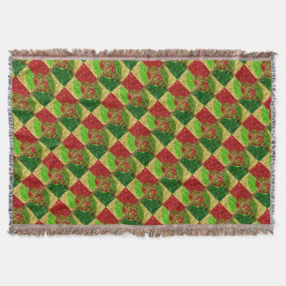 Mosaic Stained Glass Look Happy Holidays Throw Blanket