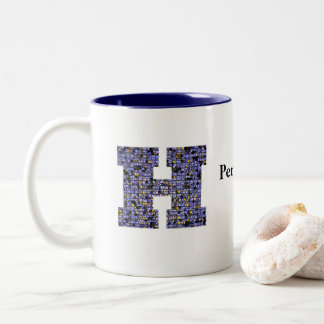 Mosaic Stained Glass Monogram Initial Letter H Two-Tone Coffee Mug