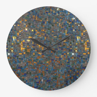 Mosaic Stones in Blue and Gold Large Clock