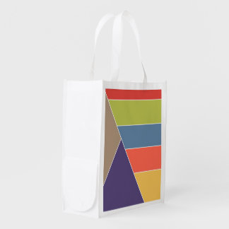 MOSAIC stripes triangles colored I + your ideas Reusable Grocery Bags