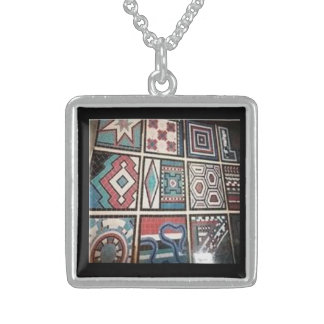 Mosaic style sterling silver pendant necklace