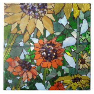 Mosaic Sunflowers Ceramic Tile
