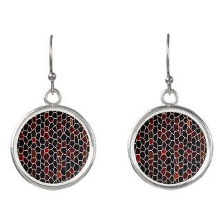Mosaic Tile Effect-Red -Black and Burgundy Design Earrings