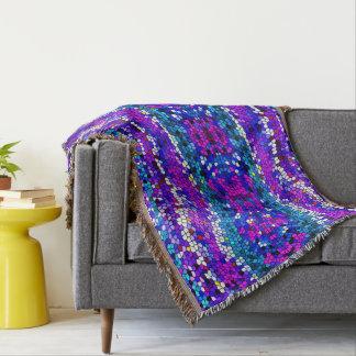 Mosaic Tile Pattern Purple Blue Pink Throw Blanket