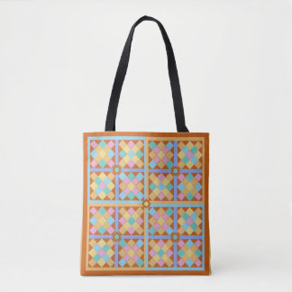 Mosaic tiles Moroccan colours pink and terracotta Tote Bag