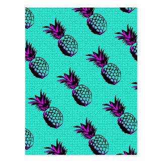 mosaic turquoise blue pineapple pattern postcard