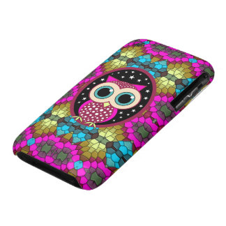mosaic with pink owl iPhone 3 cases