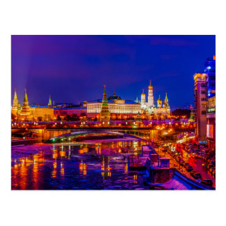Moscow Kremlin In Winter Night Postcard