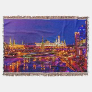 Moscow Kremlin In Winter Night Throw Blanket