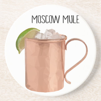 Moscow Mule Copper Mug Low Poly Geometric Design Beverage Coaster