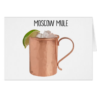 Moscow Mule Copper Mug Low Poly Geometric Design Card