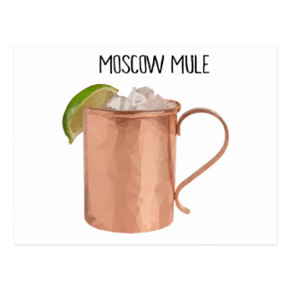 Moscow Mule Copper Mug Low Poly Geometric Design Postcard