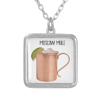 Moscow Mule Copper Mug Low Poly Geometric Design Silver Plated Necklace