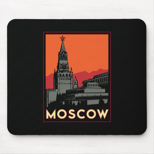 moscow russia kremlin art deco retro travel mouse pad