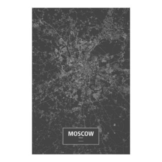 Moscow, Russia (white on black) Poster