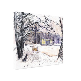 Moscow winter. Patriarshie pounds Canvas Print