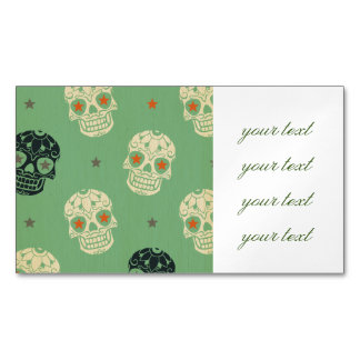 mose green,halloween,pattern,skulls,cute,scary,kid magnetic business cards