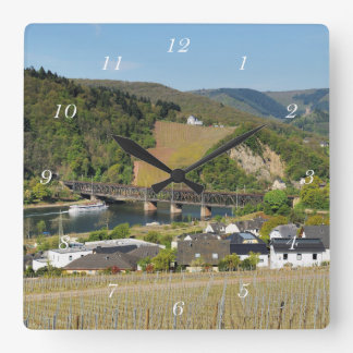 Moselle bridge with Bullay Square Wall Clock