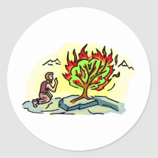 Moses and burning bush Christian artwork Classic Round Sticker